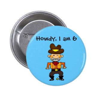 6 year old cowboy 6 cm round badge