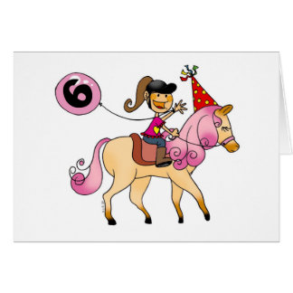 6 year old girl on a pony card