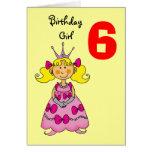 6 year old princess (blonde hair) greeting card