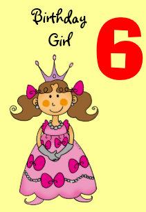 6 Year Old Princess Brown Hair Card