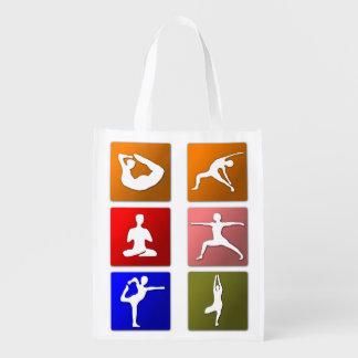 6 Yoga Poses Reusable Shopping Bag Reusable Grocery Bag