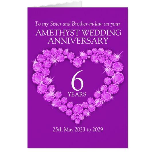 6th amethyst wedding anniversary sister card