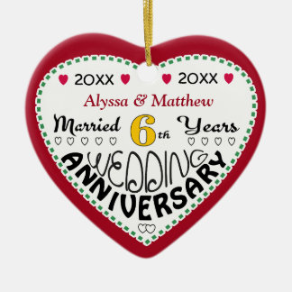 6th Anniversary Gift Heart Shaped Christmas Christmas Ornament
