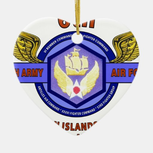 """6TH ARMY AIR FORCE """"ARMY AIR CORPS"""" WW II CHRISTMAS ORNAMENTS"""