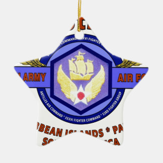 "6TH ARMY AIR FORCE ""ARMY AIR CORPS"" WW II Double-Sided STAR CERAMIC CHRISTMAS ORNAMENT"