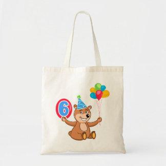 6th Birthday Bear Theme Tote Bag