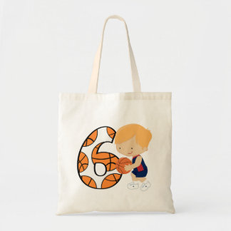 6th Birthday Blue and Red Basketball Player Budget Tote Bag