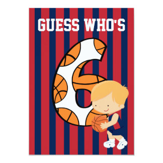 6th Birthday Blue and Red Basketball Player Card