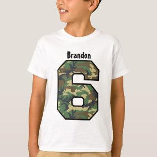 6th Birthday Boy Camo Four Year Custom Name V007F Shirts
