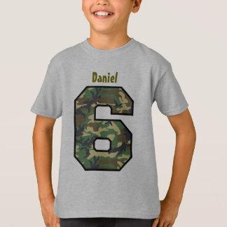 6th Birthday Boy Camo Six Year Custom Name V007F8 T-shirts