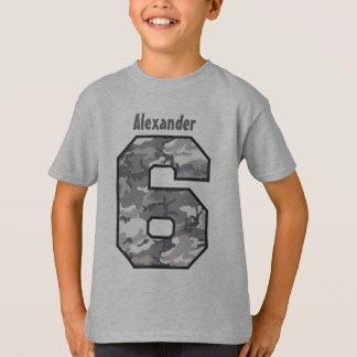 6th Birthday Boy Camo Six Year Custom Name V02V T-Shirt