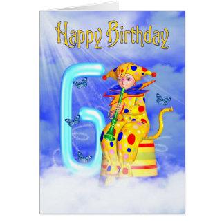 6th Birthday Card - Cute Little Pixie Clown