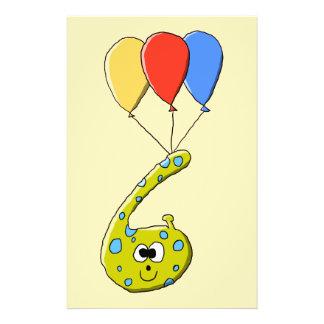 6th Birthday Cartoon Monster. 14 Cm X 21.5 Cm Flyer