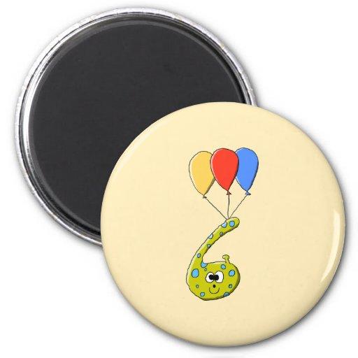 6th Birthday Cartoon Monster. Fridge Magnets