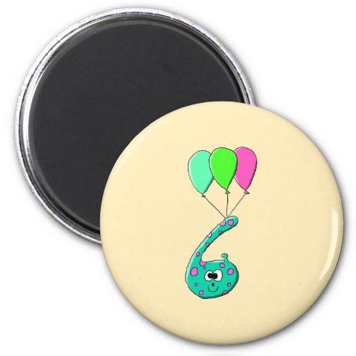 6th Birthday Cartoon, Teal Green and Fuchsia Pink. Refrigerator Magnet