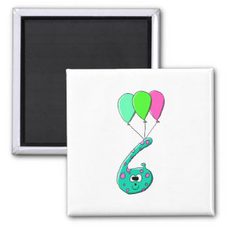 6th Birthday Cartoon, Teal Green and Fuchsia Pink. Fridge Magnet