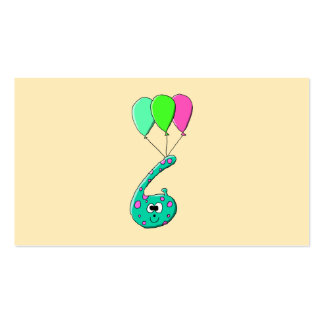 6th Birthday Cartoon, Teal Green and Fuchsia Pink. Pack Of Standard Business Cards