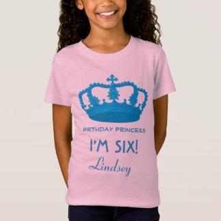 6th Birthday Custom Name Crown Gift Idea V20 T-Shirt