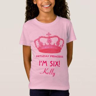 6th Birthday Custom Name Crown Gift Idea V21 T-Shirt