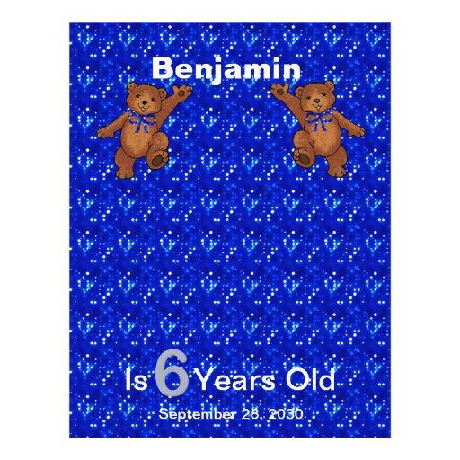 6th Birthday Dancing Bear Scrapbook Paper 1 Flyer Design