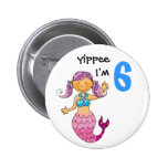 6th birthday gift for a girl, cute mermaid pinback button