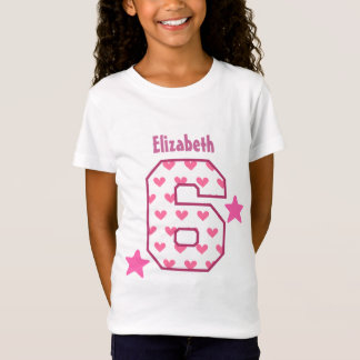6th Birthday Girl HEARTS Six Year Custom V07C T-Shirt