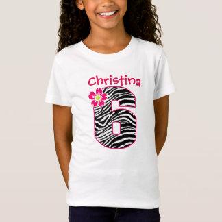 6th Birthday Girl Hot Pink & Black Zebra Pattern T-Shirt