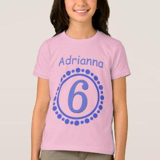 6th Birthday Girl One Year Big Number Name V101E Tshirts