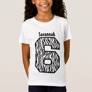 6th Birthday Girl Zebra Four Year Custom Name V07F T-Shirt