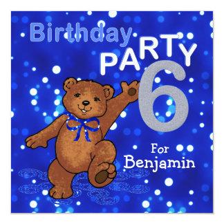6th Birthday Party Dancing Teddy Bear 13 Cm X 13 Cm Square Invitation Card
