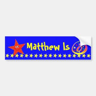 6th Birthday Party Red Smiley Star Decoration Car Bumper Sticker