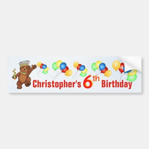 6th Birthday Party Teddy Bear Prince Bumper Sticker
