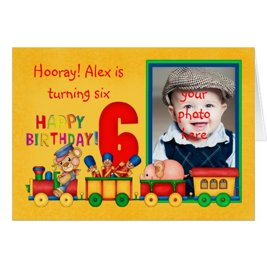 6th birthday photo card with toy train -