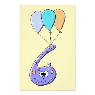 6th Birthday Purple Birthday Monster Cartoon Personalized Flyer