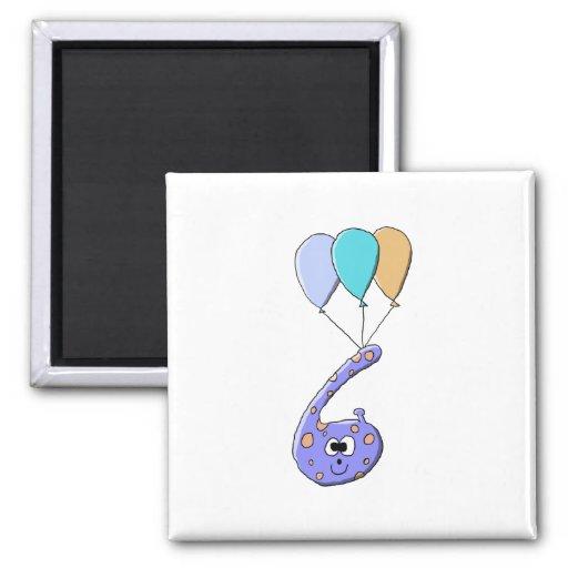 6th Birthday, Purple Birthday Monster Cartoon. Refrigerator Magnets