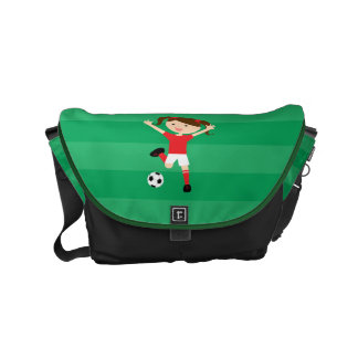 6th Birthday Red and White Soccer Girl 1 Commuter Bag