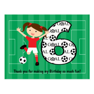 6th Birthday Red and White Soccer Girl 1 Postcards