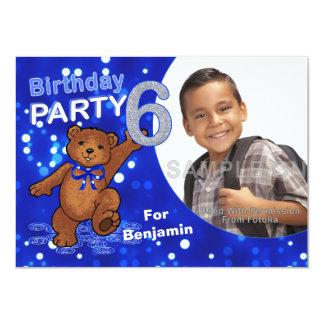 6th Birthday Teddy Bears Party, Custom Photo 11 Cm X 16 Cm Invitation Card