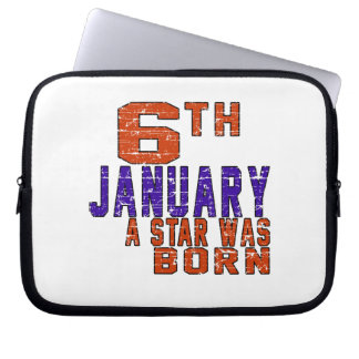 6th January a star was born Laptop Sleeve
