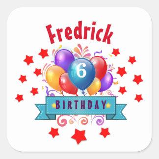6th KIDS Birthday Festive Colorful Balloons B10C Square Sticker