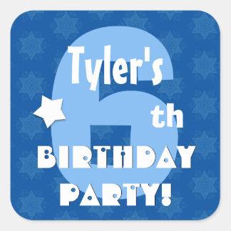6th Kids Birthday Party Custom Name V5 Square Sticker