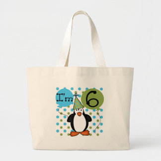 6th Penguin Birthday Large Tote Bag
