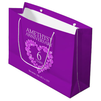 6th wedding anniversary amethyst photo purple bag