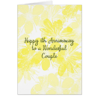 6th Wedding Anniversary Card Yellow Flowers