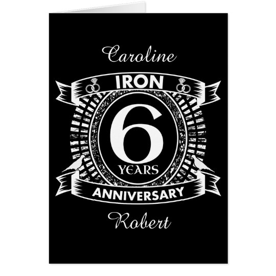 6th wedding anniversary distressed crest card