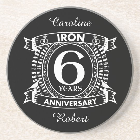 6th wedding anniversary distressed crest coaster