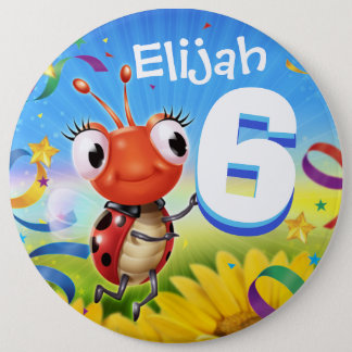 6yrs Custom birthday badge Little Ladybug range
