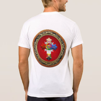 [700] Rosy Cross (Rose Croix) on Red & Gold T Shirts