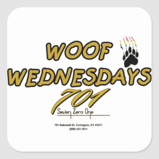 701 WOOF WEDNESDAY SQUARE STICKER