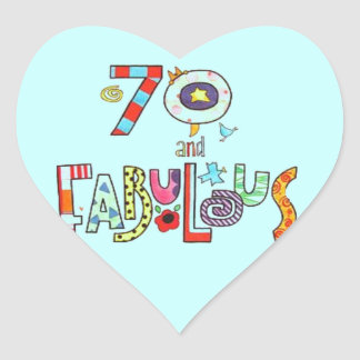 70 and fabulous Happy 70th Birthday Heart Sticker